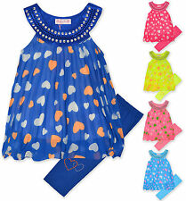 Girls Leggings And Dress Top Set Kids Heart Print Summer Outfit New Age 3-12 Yrs