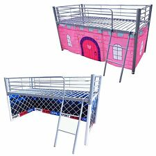 FoxHunter Metal Frame Childrens Mid Sleeper Cabin Bunk Bed Kids Tent Single 3FT