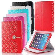 Shiny Bling Diamond Synthetic PU Leather Flip Stand Smart Case Cover For iPad