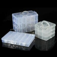 Adjustable Clear Plastic Jewellery Storage Organiser Container Compartment Tool
