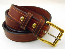 "Orion Leather 1 1/4"" Bridle Rich Brown Leather Belt Saddle Groove Nickel-Free"