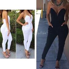 Fashion Women Sexy Bodycon Bandage Strapless Tight Waist Jumpsuits Exposed Dress