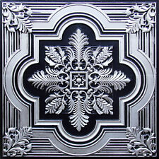 Decorative PVC Faux Tin Ceiling Tile White or Antique Silver 24x24 #206