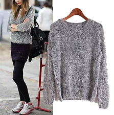 Women Round Neck Loose Knitted Pullover Jumper Loose Sweater Knitwear 9 Colors