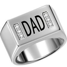Sz 7-15 Men Stainless Steel Ring Band DAD Father Day Gift Silver Wedding School