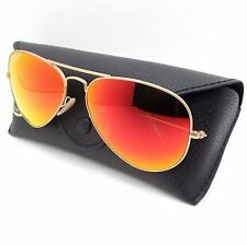 Ray Ban 3025 112/4D Matte Gold Orange Mirror POLARIZED New Authentic