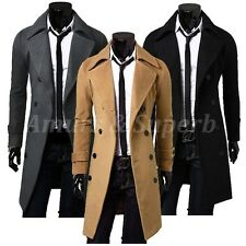 NEW Men's Trench Coat Winter Warm Long Double Breasted Jacket Overcoat Outwear