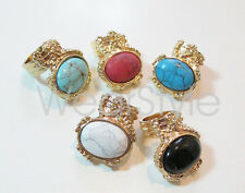 New Europe Style Big Stone Gold Tone Ring More Colors Fashion JW100
