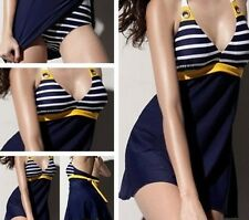 New Womens Swimwear Bathing Suit One Piece Bikini Navy Monokini Beach Dress XXXL