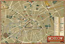 1938 Soviet Tourism Map of Moscow in English Moskva Vintage
