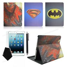 spiderman superman Batman cartoon leather case for ipad 2 3 4 mini 3/2/1