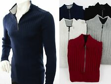 INC International Concepts 1/4 Zip Mock NeckRibbed Sweater Mens Pullover NEW