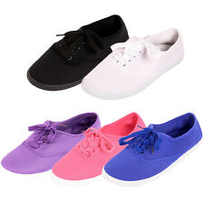 Womens Canvas Lace Up Shoes Casual Sneakers Classic Tennis Flats Ladies Plimsoll