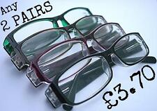 MT20/4  2 x Pairs Reading Glasses Choice of 4 Coloured Frames+1.0+1.5+2.0+2.5