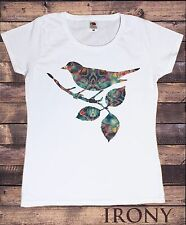 Womens Colourful Bird Leaf Print  Animal Print T-Shirt Short Sleeve Cotton TSC17
