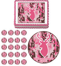 PINK DEER CAMO CAMOUFLAGE Edible Bachelorette Birthday Party Cake Topper Cupcake