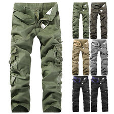 NEW MENS CASUAL MILITARY ARMY CARGO CAMO COMBAT WORK PANTS TROUSERS