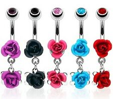 Stainless Steel Double Rose Belly Bar / Navel Ring With Gem Ball