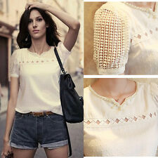 White Slim Lace Pearl Blouse Chiffon Shirt Women Short Tops For Women