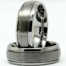NEW 8mm Dome Tungsten Carbide Titanium Wedding Band Ring Size 8-14 Comfort Fit