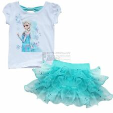 2PC Girls Frozen Princess Elsa Top T-Shirt+Cake Tutu Skirt Dress Outfits Clothes