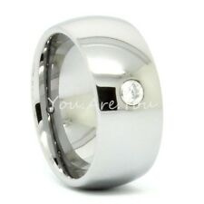 8mm Silver Dome Tungsten Carbide CZ Stone Wedding Band Comfort Fit Mens Ring