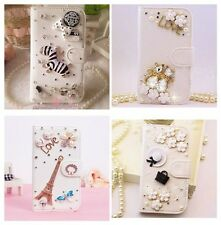 Hot Sale Luxury 3D Bling Crystal Rhinestone Flip Wallet PU Leather Case Cover 21