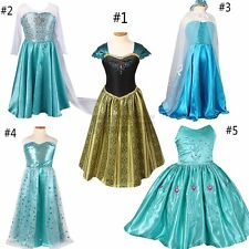 Mädchen Frozen Elsa Anna Perlen Tüll Kleid Kostüm Cosplay Party Dress Eiskönigin