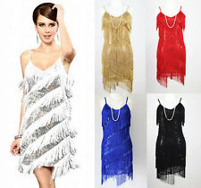 FLAPPER FRINGE 1920s GREAT GATSBY PARTY SEQUIN LATIN DRESS - SMALL