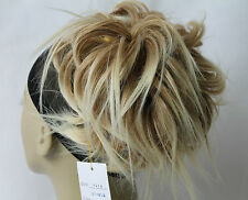Tousled fly-a-way Strands Synthetic Hairpiece Bun Scrunchies Straight Elastic