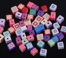 50Pcs Polymer Clay Fimo Cube Shape Loose Beads Spacer Beads 6mm,Mixed Randomly