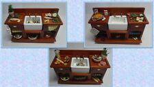 dolls house miniature 1:12 scale belfast sink dressed for food prep 3 to choose