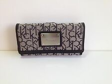 Calvin Klein Women's Signature Logo Jacquard Flap Clutch Wallet New with tag