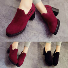 Ladies Mid Chunky Heels Pumps Stitch Suede Platform Shoes UK Size 2 3 4 5 5.5