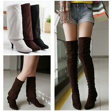 Womens Mid Heel Pointy Toe Pull On Over The Knee High Boot New Roma Fashion SHoe