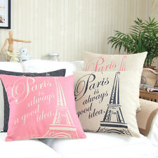 "18 X 18"" Black Pink Paris Eiffel Tower Cushion Covers Pillows Shell Home Decor"