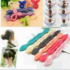 1x Rabbit Ear Magic Sponge Hair Styling Curler Roller Donut Bun Maker Twist Tool