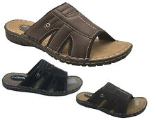 Mens Shoes Sandals Grosby Jacky Slip on Black or Brown Scuffs Size 6-12 new