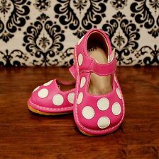 Pink with White Polka Dot Toddler Girls Squeaky Shoes, Sizes 3, 4, 5, 6, 7, 8, 9