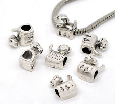 Wholesale Lots Silver Tone Dog / Doggie Beads Fit Charm Bracelet