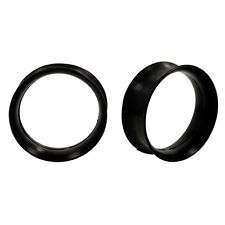 PAIR Earskins - BLACK Flexi Silicone Flared Ear Plugs Hollow Tunnels