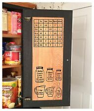 TWO Kitchen Measurement Conversion Chart Decal Cabinet Convert Liquid Solid Dry