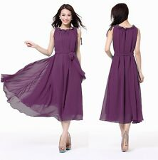 Womens Ladies Formal Full Skirts Chiffon Cocktail Evening Party Plus Size Dress
