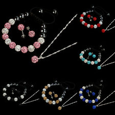 10MM Crystal Ball Jewelry Shamballa Bracelet Earrings Necklace Set New