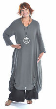 ET'LOIS USA  Linen VENUS TUNIC Long Drawstring Detail Dress  S M L XL  GRAPHITE