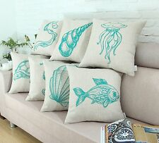 """18"""" X 18"""" Turquoise Sketch Print Sea Animals Life Cushion Covers Pillows Shell"""