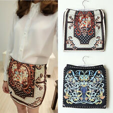Lady Chic Vintage Totem Printed High Waist Package Hip Sexy Short Skirt USMO4