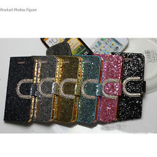 Magnetic Flip PU Leather bling U-shaped buckle For iPhon5S 5C samsung 4S MO#2014