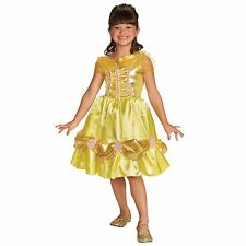 Child's Girl's Disney Princess Beauty BELLE Sparkle Yellow Fancy Dress Costume