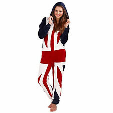 Womens Onesie Boutique Ladies Union Jack Fleece Hooded All In One Loungewear